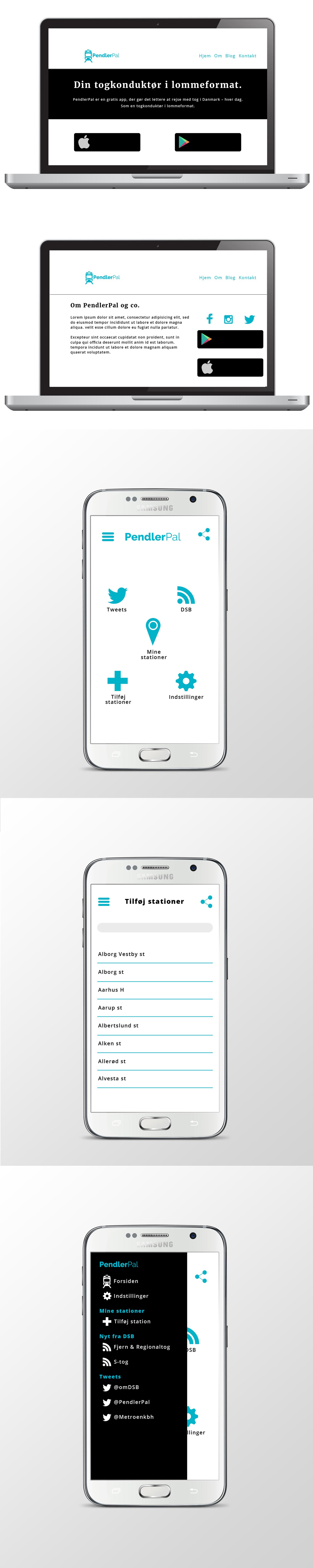 Webdesign forslag fra Photoshop til appen PendlerPal