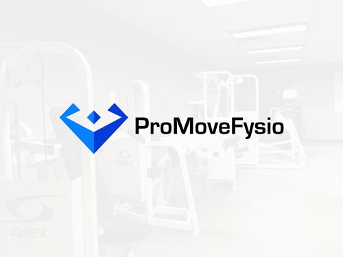 Logo til en fysioterapeut der forestiller en abstrakt person der bøjer i armene.Det hedder ProMoveeFysio.