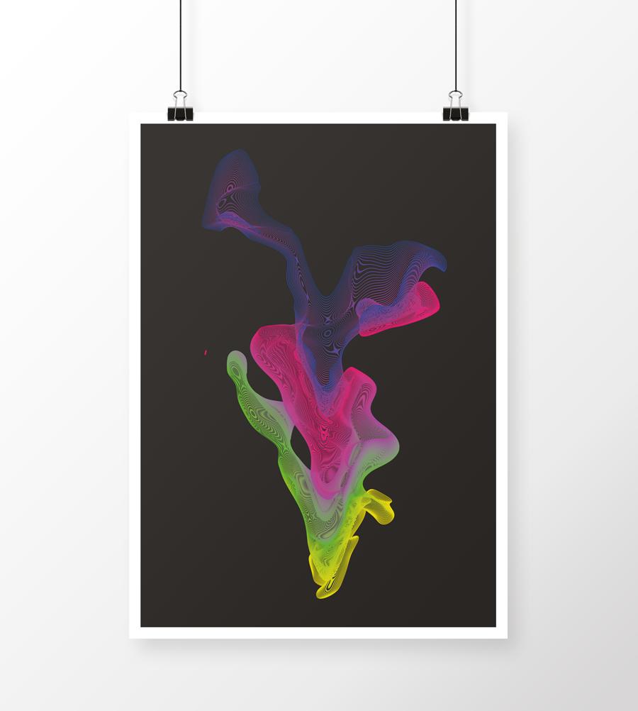 Plakatdesign lavet for sjov med noget farverigt abstrakt vandsprøjt effekt