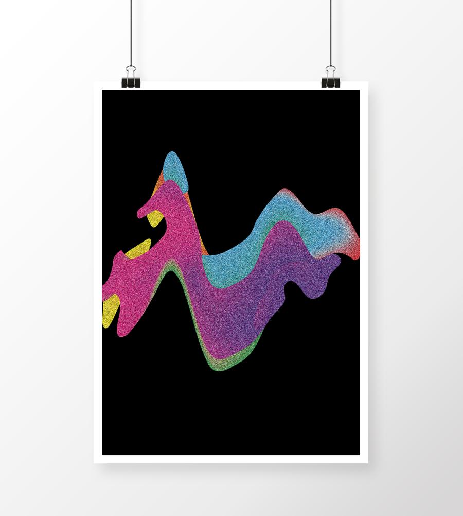 Plakatdesign med nogle farverige bølger med lidt glimmereffekt