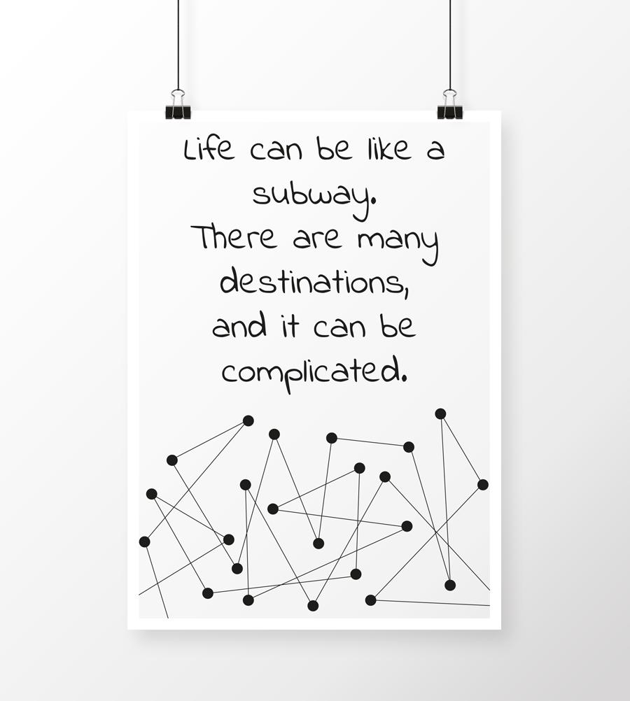 Plakatdesiggn lavet for sjov med citat og abstrakt design med prikker og streger