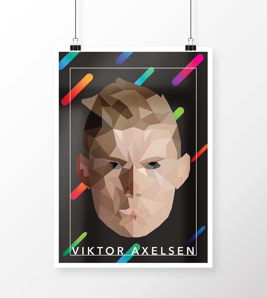 Plakatdesign laveet for sjov med Viktor Axelsen designet med lowpoly effekt