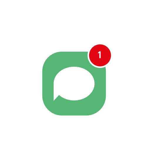 Sms ikon med en beskedvisning