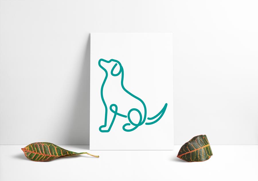 Hundeikon designet ud i én grøn streg