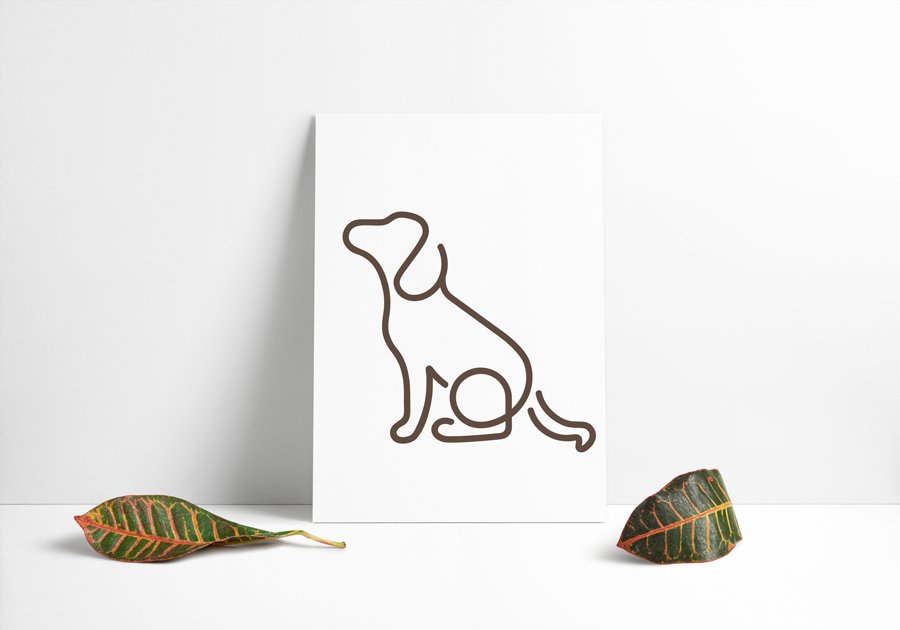 Hundeikon designet ud i én brun streg