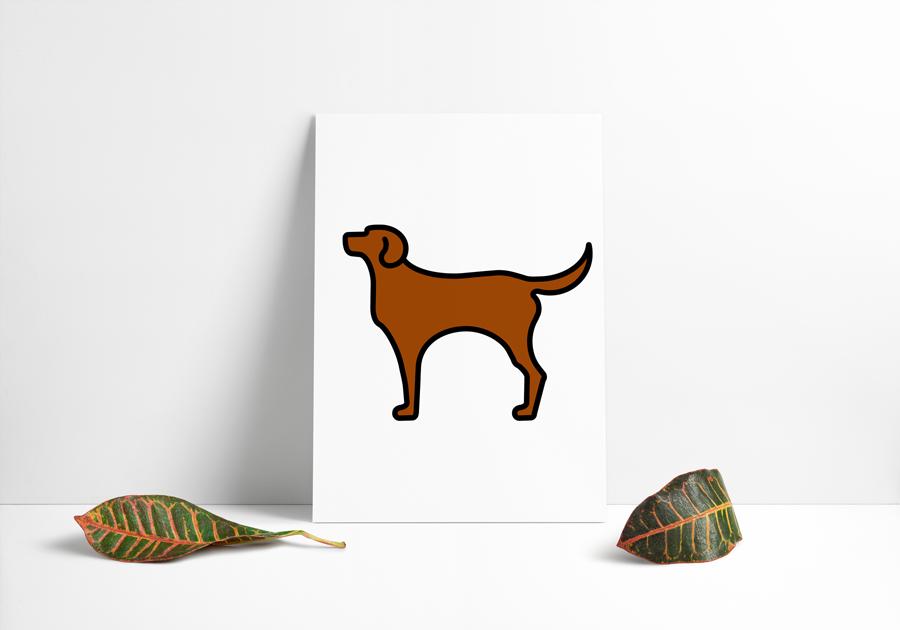 Hundeikon med brun farve